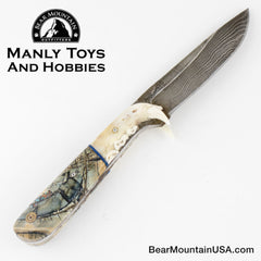 Jake2Jake #4282 Custom Hand Forged Damascus In Lynx Jaw And Mammoth Ivory 3