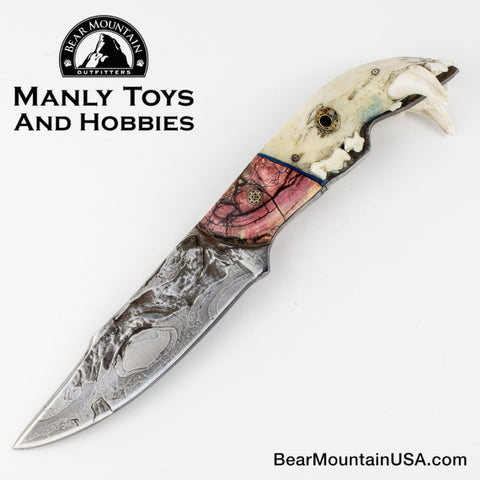 Jake2Jake #3668 Custom Hand Forged Damascus In Bear Jaw And Red Mammoth Ivory