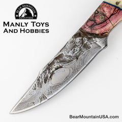 Jake2Jake #3668 Custom Hand Forged Damascus In Bear Jaw And Red Mammoth Ivory 4