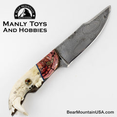 Jake2Jake #3668 Custom Hand Forged Damascus In Bear Jaw And Red Mammoth Ivory 33
