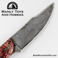 Jake2Jake #3668 Custom Hand Forged Damascus In Bear Jaw And Red Mammoth Ivory 666