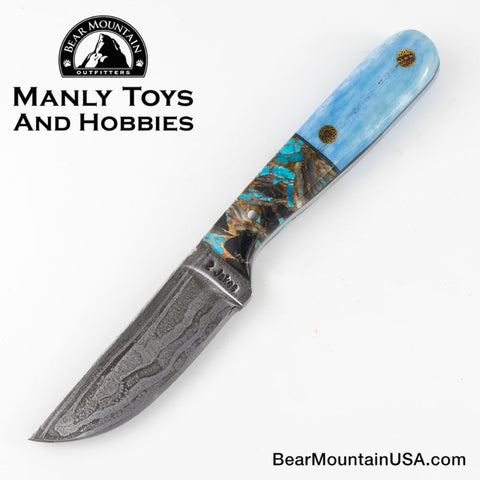 Jake2Jake #4244 Custom Hand Forged Damascus In Whale Bone and Turquoise Obsidian