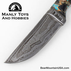 Jake2Jake #4244 Custom Hand Forged Damascus In Whale Bone and Turquoise Obsidian 44