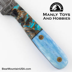 Jake2Jake #4244 Custom Hand Forged Damascus In Whale Bone and Turquoise Obsidian 666
