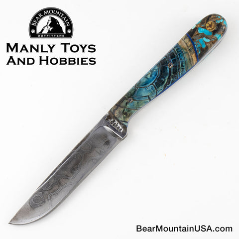 Jake2Jake #4287 Custom Hand Forged Damascus In Whale Bone and Turquoise Obsidian