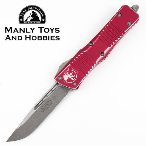 Microtech Combat Troodon S/E OTF Automatic Knife Stonewashed Blade, Distressed Red Body (3.8