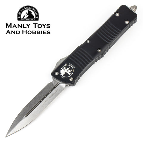 Microtech Combat Troodon Double Edge OTF knife Black with Stonewash Blade 142-10