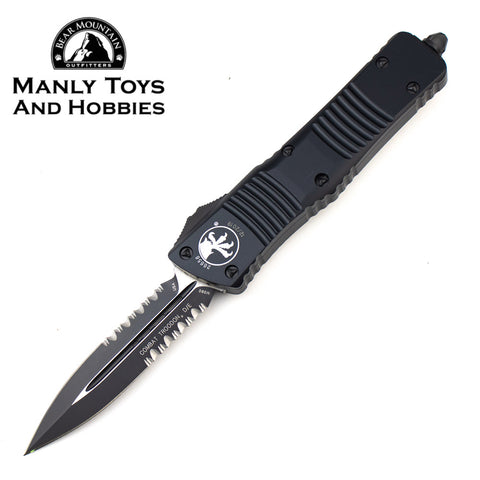 Microtech Combat Troodon D/E OTF Dagger Automatic Knife Black Blade Partially Serrated (3.8