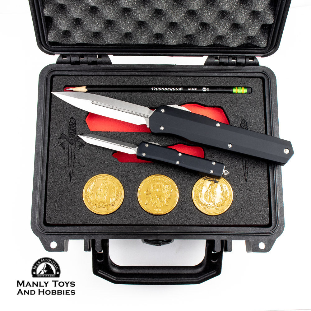 Microtech Custom John Wick Commemorative Set With Gold Coins and Pelican  Case