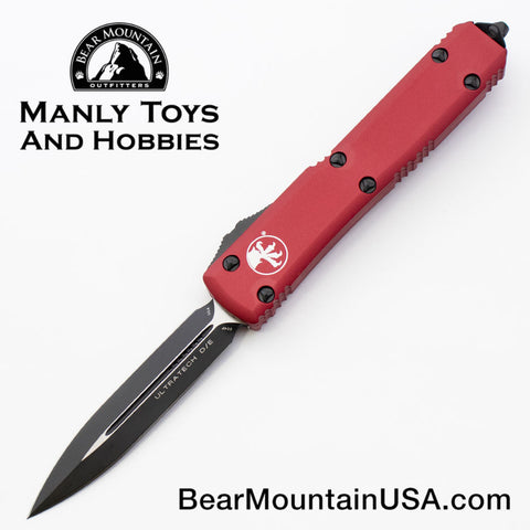 Microtech Ultratech D/E Red OTF Automatic Knife 122-1 RD Black Blade