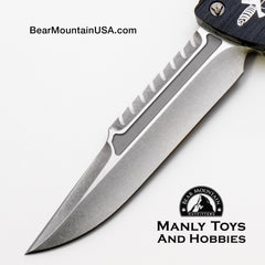 Marfione Custom Combat Troodon Interceptor With Stonewash M390, and DLC Hardware blade view