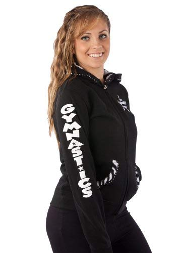 Girls Gymnast Gymnastics Hoodie Sweatshirt: with Fur Lined Hood and Applique in Girls and Adults and Rhinestone Accents