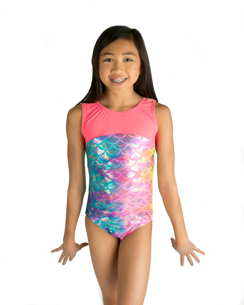 Lizatards Leotard Mermaid with Bow Back in Tie Dye Fabric