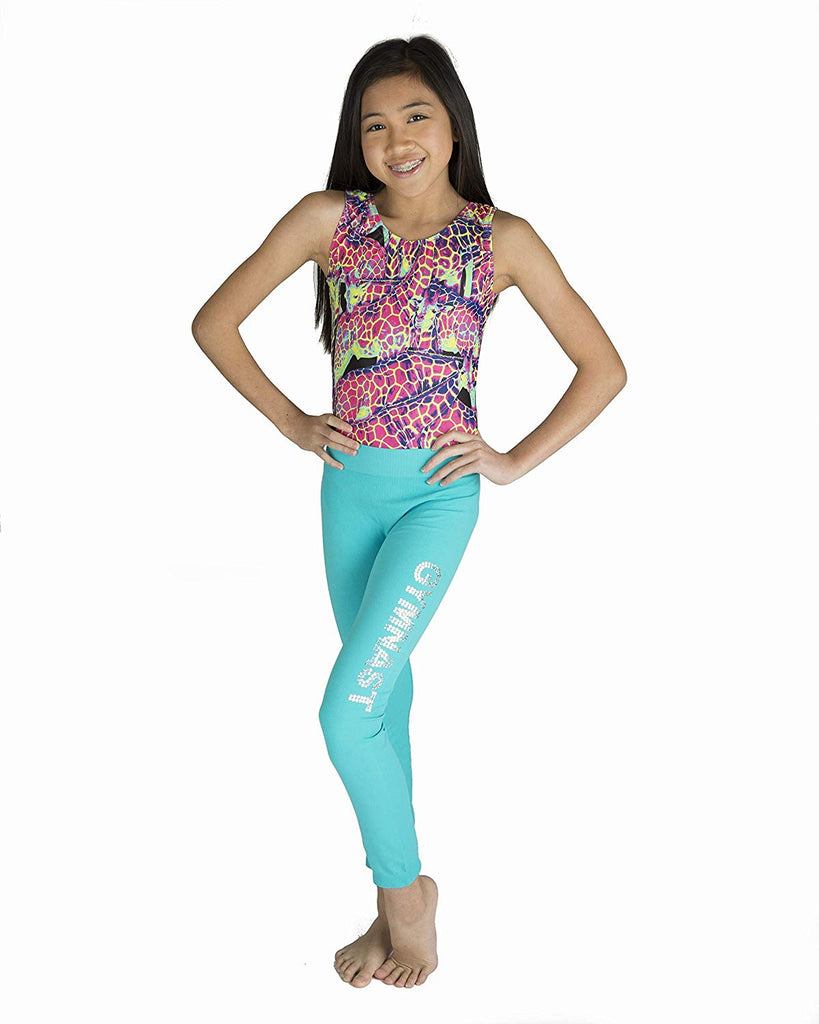 Lizatards Space Dye Capri Gymnast Gymnastics Pants in Pink Purple