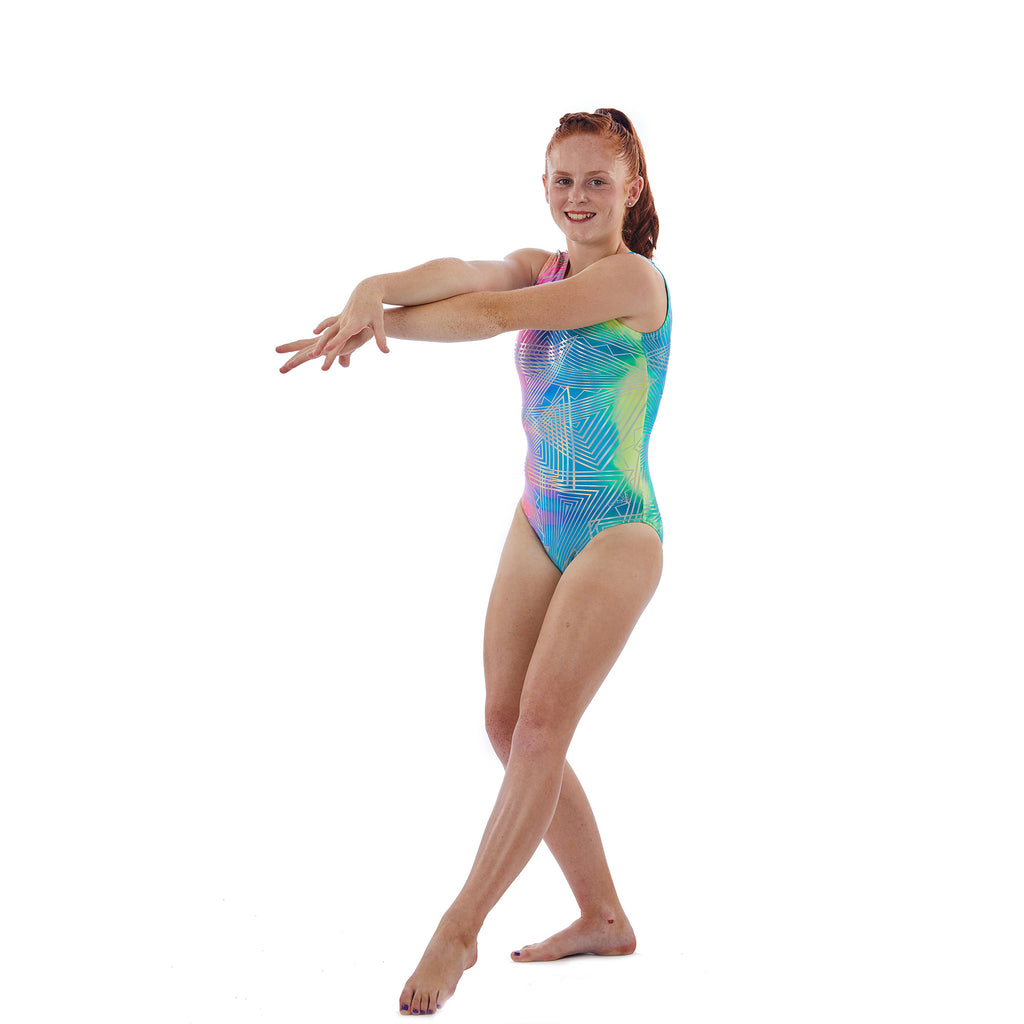 Lizatards Tank Leotard in Tie Dye Fabric with Silver Hologram Design