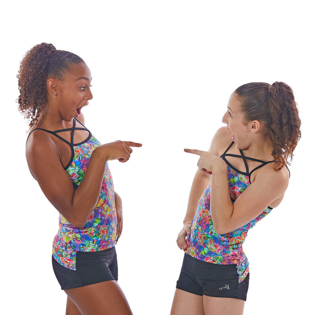 Lizatards Gymnastics Dance Shorts and Bra Top Set In Lotus Flower