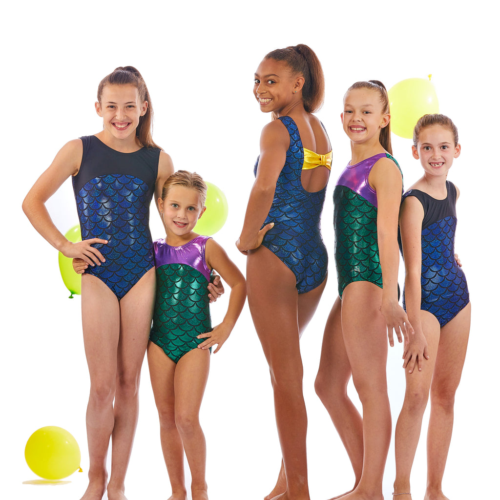 Lizatards Leotard Mermaid with Bow Back in Green