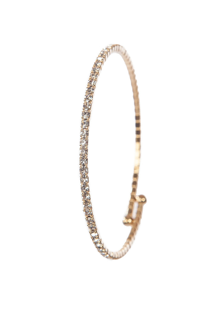 Lizatards Single Row Slinky Style Rhinestone Bangle Bracelet