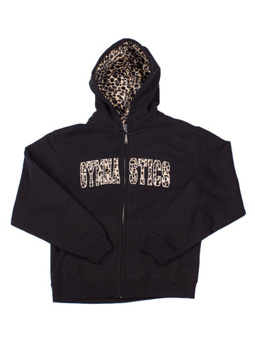 Gymnastics Sweatshirt Zipper Hoodie with Fur Applique