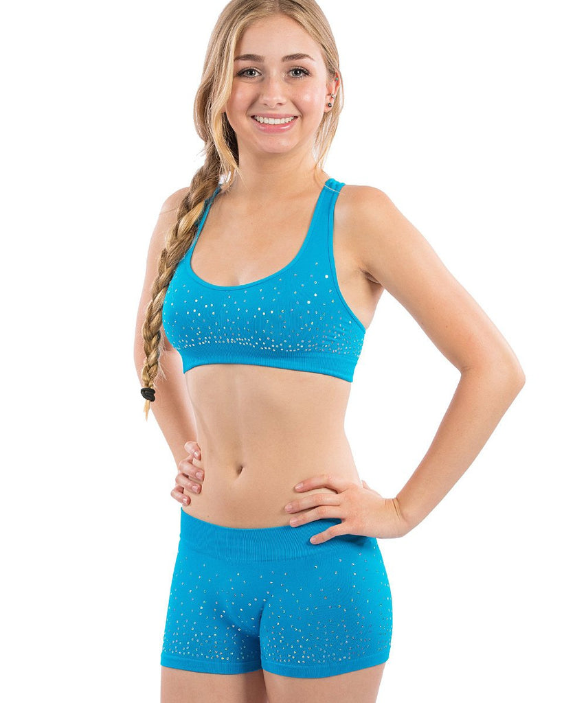 Stretch to Fit Tween Bra Top and Shorts Scattered Sequins-7 Sets