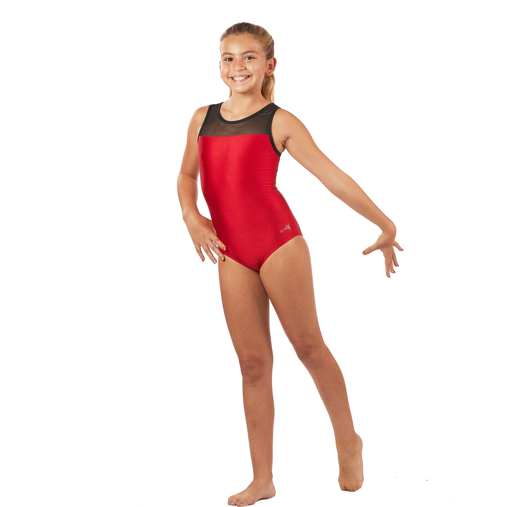 Lizatards Leotard with Mesh Top and Back in Two Colors