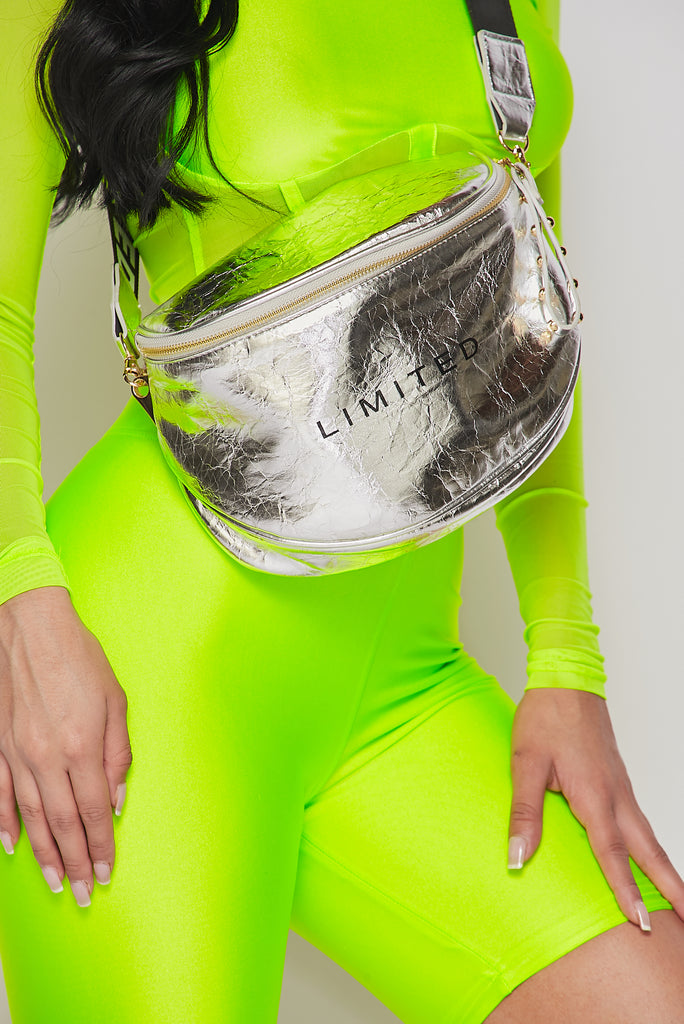 Silver Bold Strap Fanny Pack