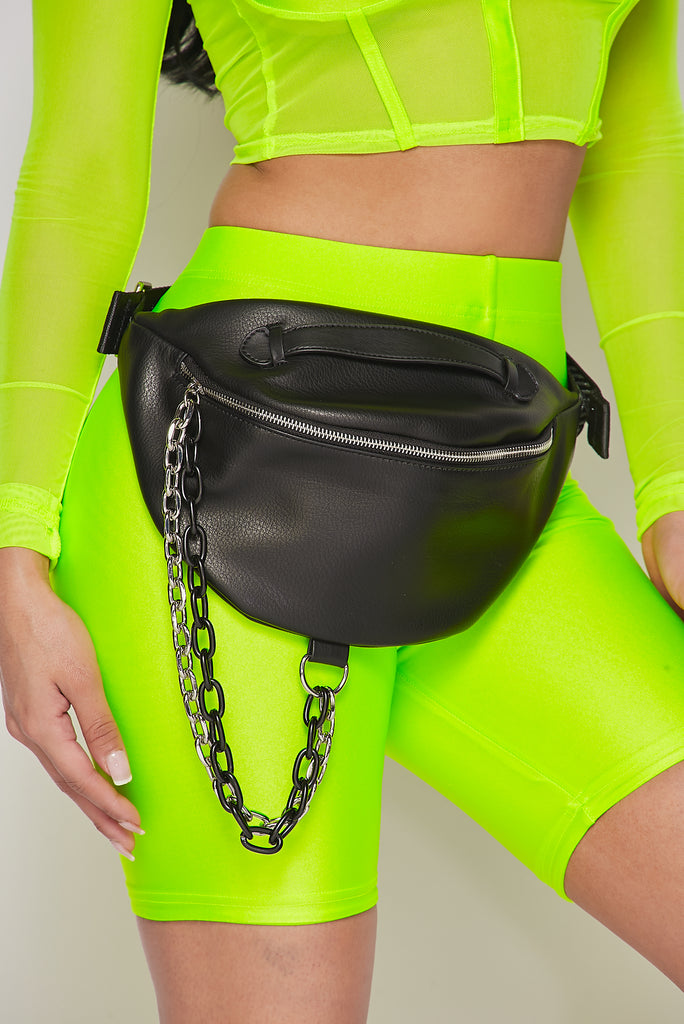 Black Chain Fanny Pack