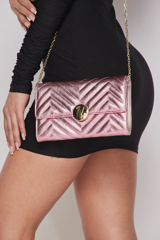 Pink Glossy Chevron Purse