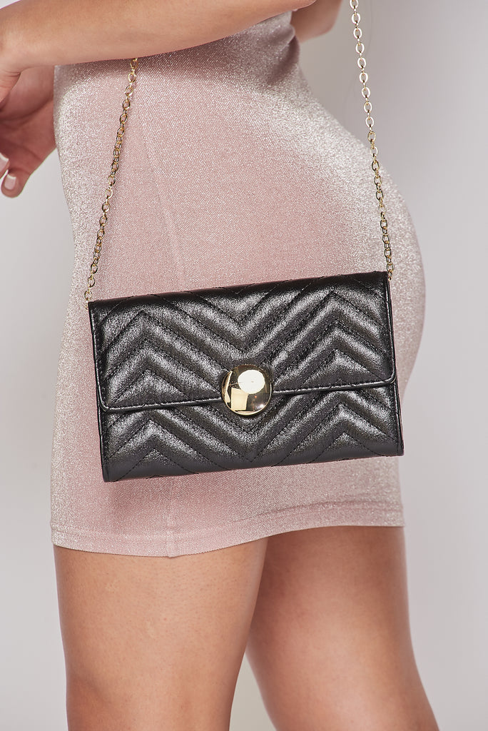 Black Glossy Chevron Purse