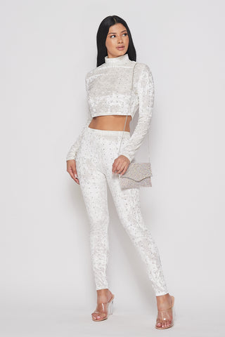 2-Piece White Velvet Set