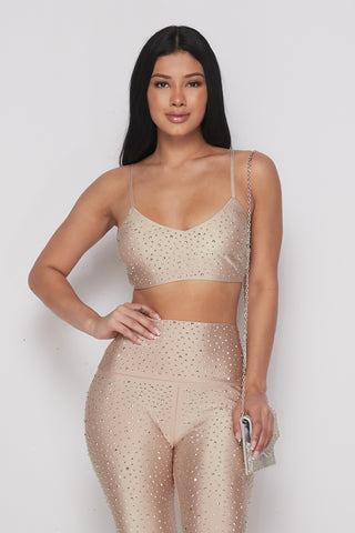 Image of 2-Piece Nude Rhinestone Set