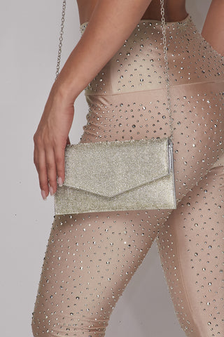 Image of Silver Rhinestone Envelope Purse
