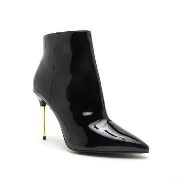 Patent Leather Booties - Black