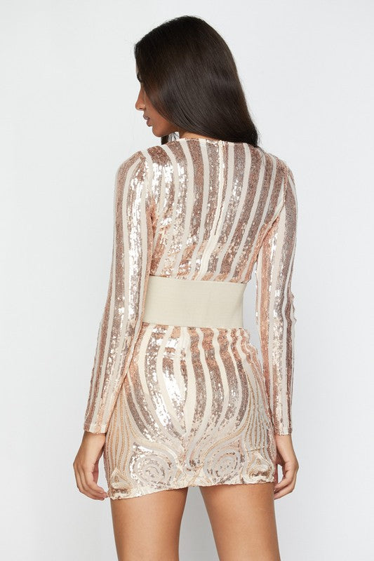 Yarelli Sequin Belted Mini Dress - Rose Gold