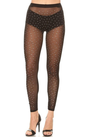 Black Rhinestone Tights