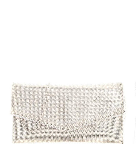 Silver Rhinestone Envelope Purse
