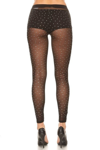 Image of Black Rhinestone Tights