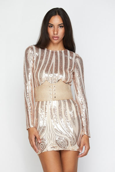 Sequin Belted Mini Dress - Rose Gold