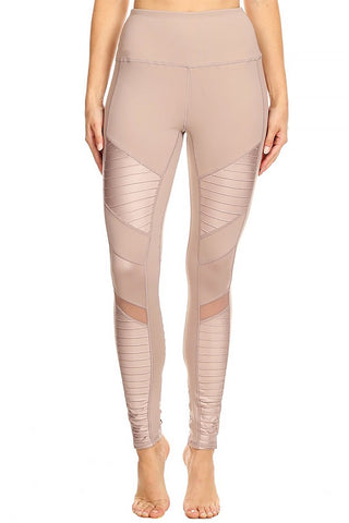 Metallic Accent Leggings - Mocha