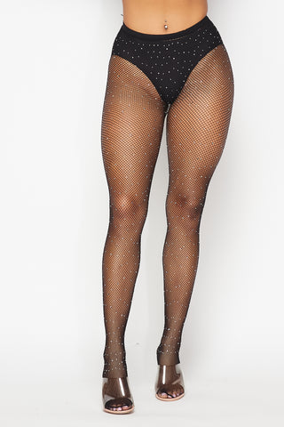 Black Rhinestone Fishnet Tights