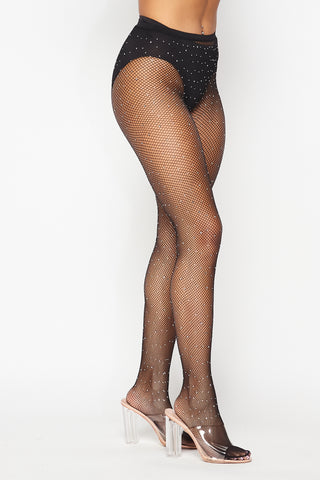 Image of Black Rhinestone Fishnet Tights