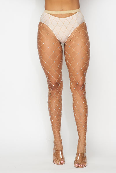 Nude Large Rhinestone Fishnets