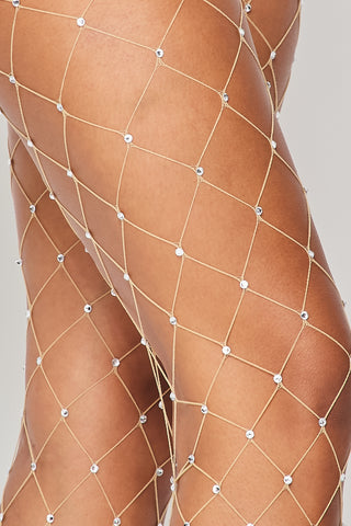 Image of Nude Large Rhinestone Fishnets
