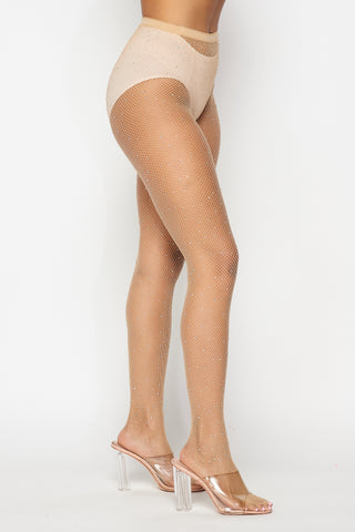 Image of Nude Rhinestone Fishnet Tights