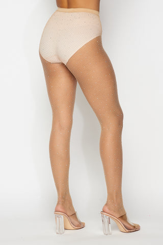 Nude Rhinestone Fishnet Tights