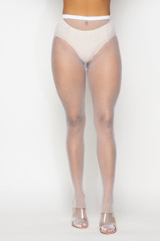Image of White Rhinestone Fishnet Tights