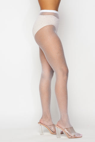White Rhinestone Fishnet Tights