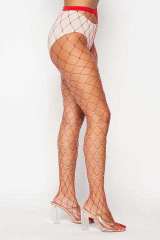 Image of Red Large Rhinestone Fishnets