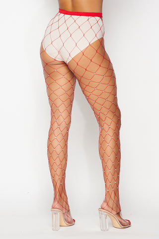 Red Large Rhinestone Fishnets