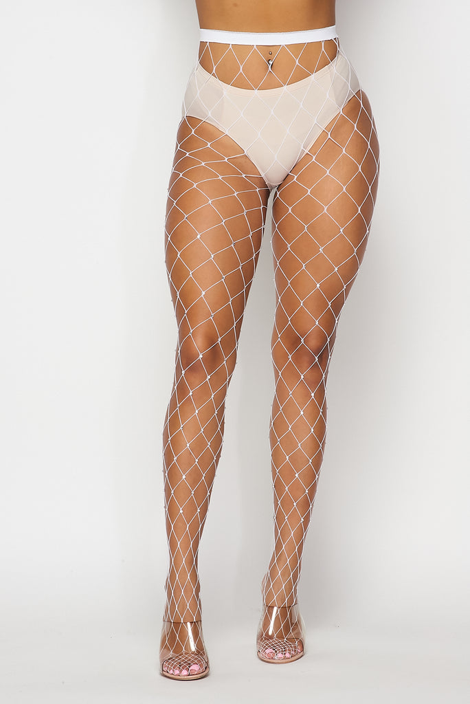 White Large Rhinestone Fishnets